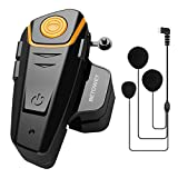 BETOWEY BT-S2 Auriculares Intercomunicador Moto Bluetooth para Motocicletas, Intercomunicador Casco Moto con Radio FM, Gama Comunicación Intercom de 1000m, Impermeabilidad (Paquete 1, Micrófono Suave)