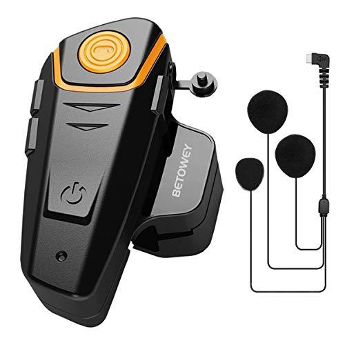 BETOWEY BT-S2 Interfono Moto, Auricolari Bluetooth per Casco Moto, 2-3 Motociclisti, Distanza 1000m, Radio, MP3, GPS, Impermeabile - Singolo, Microfono Morbido