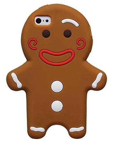 Gingerbread Man Cookie 3D AFFAIRE Caoutchouc souple en silicone pour Apple iPhone 5, 5s, 5c (Brown) © Sloth Cases Braun