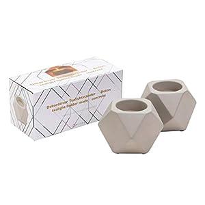 MI-BEST EINFÜHRUNG Teelichthalter aus Beton - dekorativer Kerzenständer - polygonaler Kerzenhalter [2er Set] - Scandinavische Deko - Elegante Teelichterhalter - geometrische Deko & Wohnaccessoires