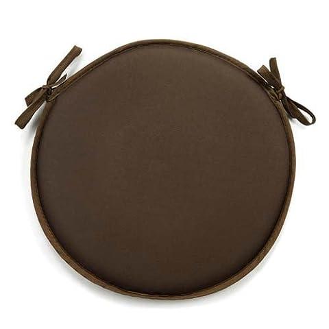 Coussin de chaise rond uni chocolat