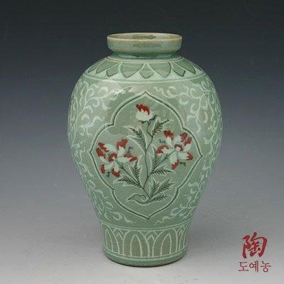Seladon Porzellan Vase Gefäße Keramik Kupferfarbe Lotusblüte Blume Neu Dekoration Korea Asien