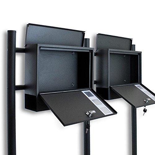BITUXX® Doppel Standbriefkasten Briefkasten Postkasten Mailbox Briefkastenanlage mit integrierten Zeitungsfach Dunkelgrau Anthrazit - 3