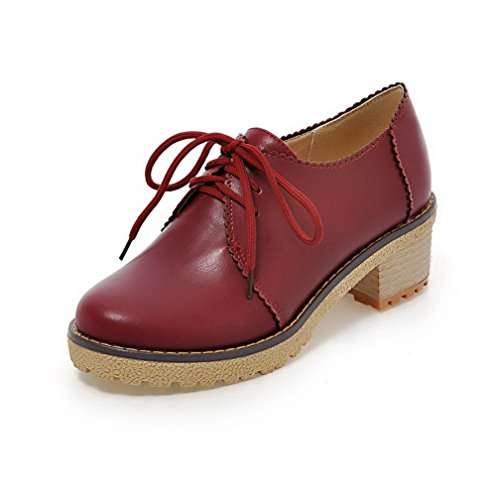 VogueZone009 Damen Schnüren Rund Zehe Mittler Absatz Pu Leder Rein Pumps  Schuhe Rot