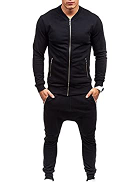 Zhhlaixing Ropa de deporte Mens Full Zip Up Soft Slim Fit Trouser&Tops Breathable Sportswear
