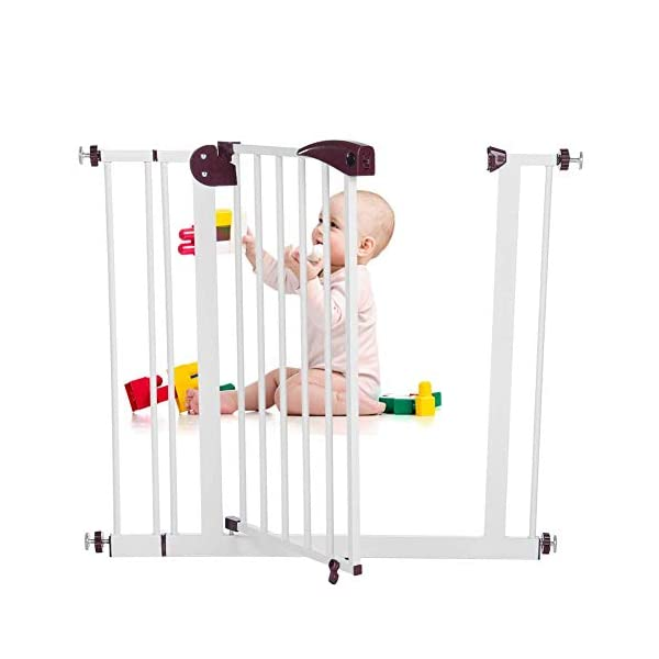 Baby Children Safety Gate Door Auto Close Swing Shut Stair Fence Pet Protection High and Wide Pressure Fit Safety Gate Ideal None Screw Stable and Durable Protective Safety Gate for Babies or Pets Ejoyous ღ Auto Close Double Lock 100% Safe ღ This Safety Gate Door adopt double lock and auto close design. There are 2 locks separately located on the top and bottom of the gate, which makes sure that your kids won't accidentally open it and get out. Besides the auto close design also buy you an insurance for careless forgetting to close it. Also it can locate 90 ° normally open, very convenient for long time in and out. These triple protection let your baby totally free from danger ღ Pressure Fit Set Easy Assemble ღ There is no need of any drilling work. The 4 pressure point will let the Safety Gate be firmly and stably fixed on the wall. Extremely easy to get the assemble job done or disassemble to move it to any place else ღ 85-94cm Wide High Versatility ღ The original wide(81 cm) plus extension accessories (10 cm) makes a total 91 cm wide along with the extension pressure point can let the gate be set at 85-94cm doorways, hallway or stairway (the most common wide of house design). You are free to choose using extension accessories or not 8