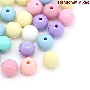 20 Stück Pastell Acryl Perlen Rund bunt gemischt ca 6mm Loch:ca 1.5mm