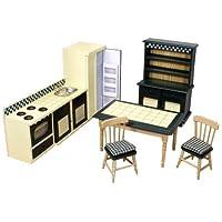 Melissa & Doug Classic Wooden Doll's House Kitchen Furniture (7 pcs) - Buttery Yellow/Deep Green