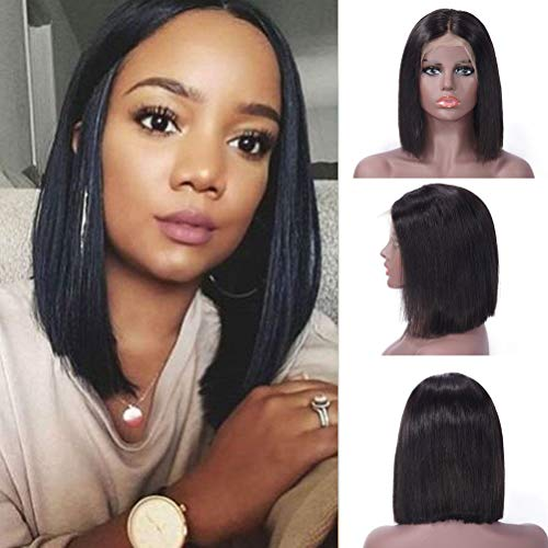 10inch Silky Straight Brazilian Remy Human Hair Lace Front-Wigs mit Baby Hair Natural Colour Short Bob Wig Für Afroamerikaner 130% Dichte -