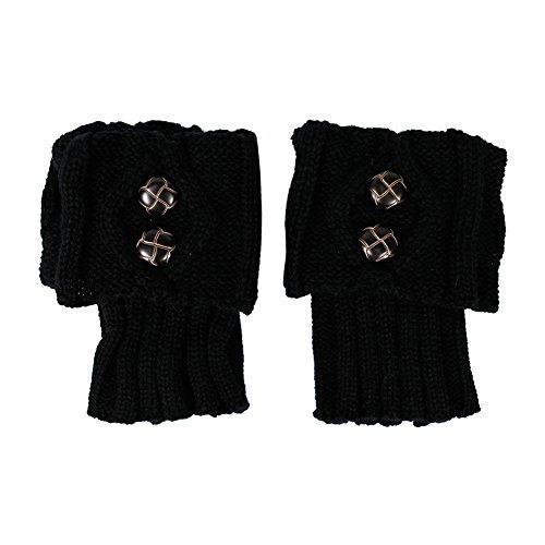 CHIC-CHIC Bas Guêtre Jambières Legging Chausettes Hiver Chaud Tressé Tricot Femme (Noir)