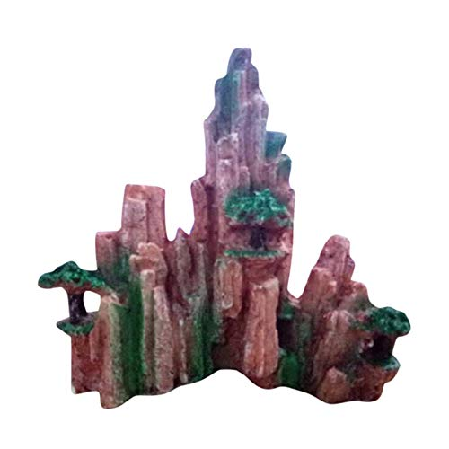 Aploa Stein Aquarium-Deko, Mountain View Aquarium Rockery versteckender Höhlen Baum Aquarium Verzierungs Dekoration Landschaft Ornament Aquarium Dekoration (A) -
