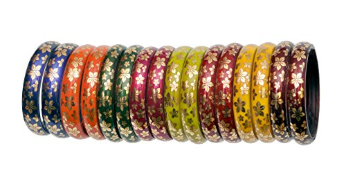 A.B.S. by Allen Schwartz 8 Colour Golden Flower Printing Glass Bangle Kada For Women & Girls Dailywear And Partywear (2.8)