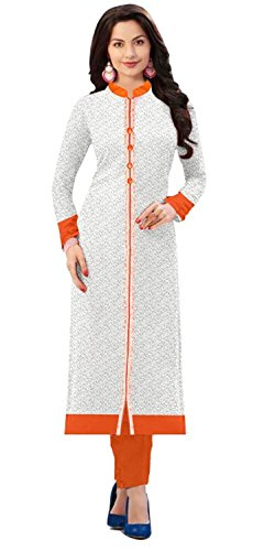 Rensila Women's Raw Silk Straight Dress Material (White_Free Size)