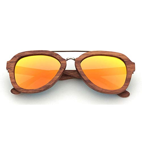Herren/Damen Holz polarisiert Fahren Sonnenbrillen, Holz Pilot Sonnenbrillen Sonnenbrillen Accessoires (Farbe : Orange)