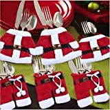 6pcs Santa Suit Christmas Cutlery Holders xmas Table Decoration Place Setting Gift By BWB