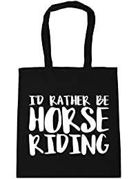 0678b72ee HippoWarehouse I'd Rather Be Horse Riding Tote Shopping Gym Beach Bag 42cm…