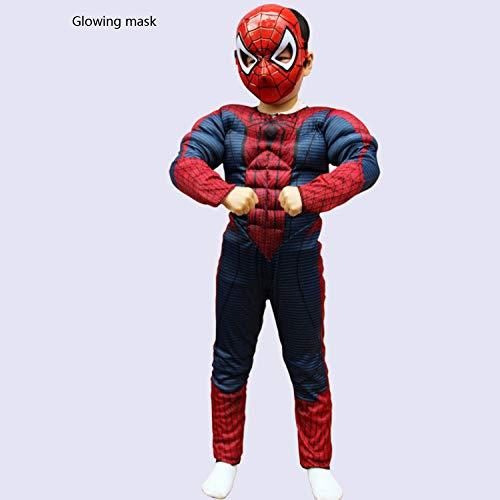 YIWANGO Kind Spiderman Kostüm Halloween Karneval Kostümball Strumpfhosen Party Cosplay Kostüm,Red-L