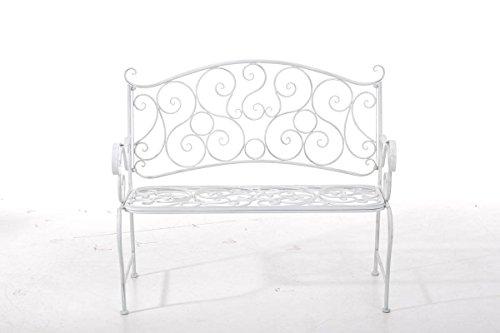klassische Metallgartenbank in antik Weiß, eine romantische Ruhebank für den Park im Landhausstil mit Nostalgie Elementen für 2 Personen – pflegeleichte Sitzbank aus Eisen B106cm - 2