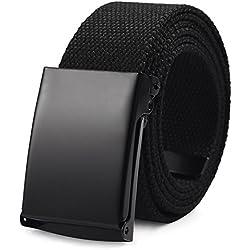 VBIGER Cinturón Lona Ocasional para Hombre,125cm (Negro)