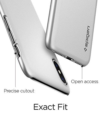 iPhone X Hülle, Spigen® [Thin Fit] Passgenaue Slim Hart PC Hardcase Schale Schlanke Handyhülle Schmal Schutzhülle für iPhone X Case Cover TF Satin Silber