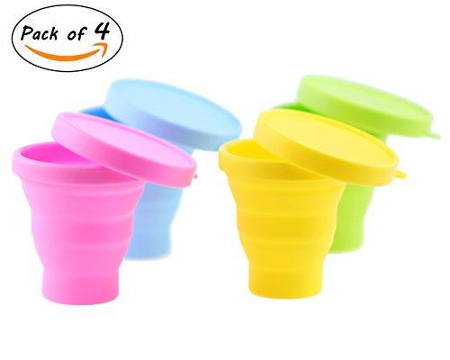 Winterworm set di 4tazze in silicone con coperchio, tazza da caffè, bicchiere da viaggio, pieghevole per campeggio, escursionismo, picnic, 200ml