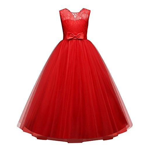 zeit Party Spitze Blumen Tütü Kleid Mädchen Retro lang Sommer Dress Kinder Ärmellos transluzent Shirt Prinzessin Kleider,4-12 Jahren alt (12 Jahren, A - Rot) ()