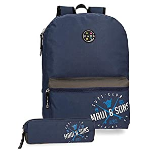 Maui And Sons, Mochila + Estuche Escolar, 42 cm, 21.5 Litros, Azul Marino