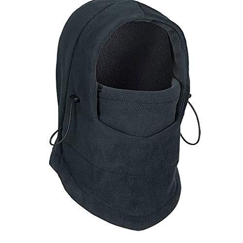 Yangyme Outdoor-Handschuhe Winter-Ski-Gesichtsmaske, thermisches Fleece-Gewebe mit atmungsaktiven Lüftungsöffnungen, Winddicht und wasserdicht, warme Kapuze, passender Helm für Erwachsene (schwarz) -
