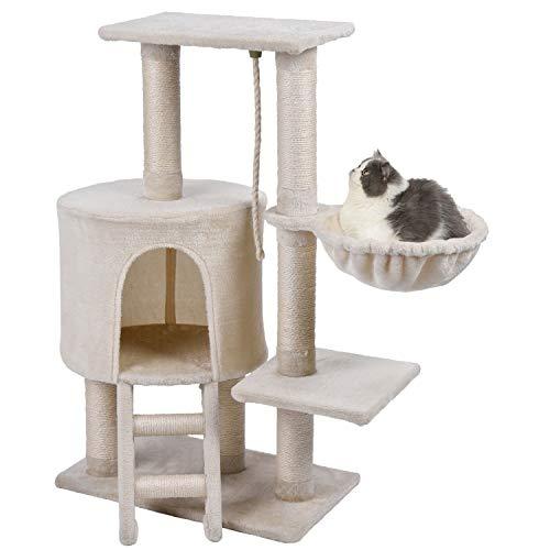 Wellhome Kratzbaum Katzen Kletterbaum mit Spielsisal und Hängematte Mittelhoch 96cm Beige