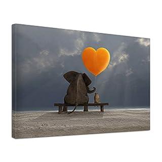 Leinwandbild Tiere Elefant Hund Freundschaft Love (80 x 60 cm)
