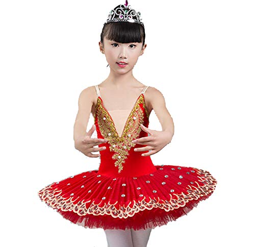Blau Tutu Kostüm - SMACO Mädchen BallettkleidMädchen Ballett Performance Kostüme, Ballett-Tutu Pailletten-Tutu rot blau lila,Red,150CM
