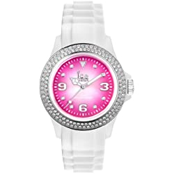Ice-Watch Women's Quartz Watch with Pink Dial Analogue Display and White Silicone Strap IPK.ST.WSH.U.S.12