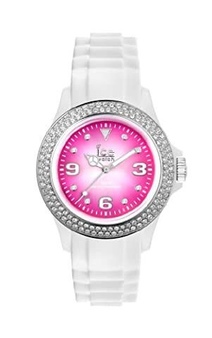 ICE-Watch - Montre Mixte - Quartz Analogique - Ice-Pink & Ice-Purple - White - pink shine - Unisex - Cadran Rose - Bracelet Silicone Blanc - IPK.ST.WSH.U.S.12