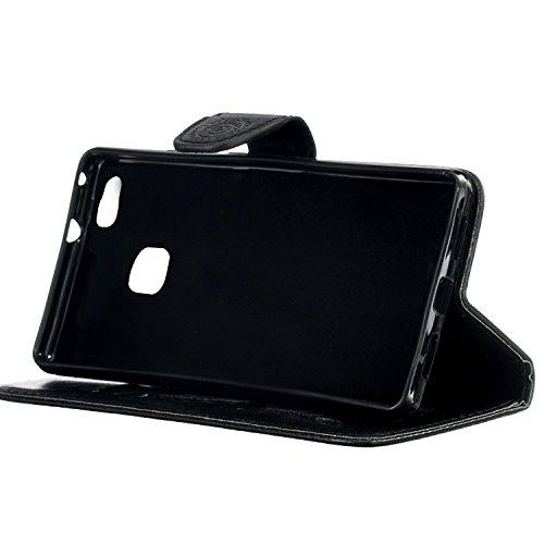 Etui Huawei P8 Lite , Anfire Attrape Reve et Feuille Motif Peint Mode PU Cuir Étui Coque pour Huawei P8 Lite Huawei ALE-L21 (5.0 pouces) Housse de Protection Luxe Style Livre Pochette Étui Folio Rabat Noir