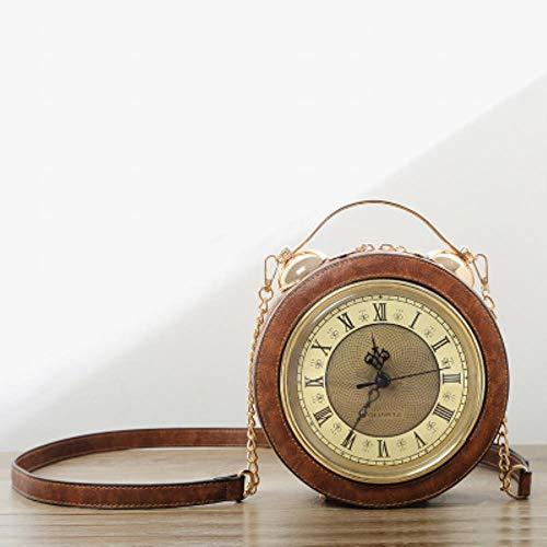 Personalisierte Fun Fashion Uhr Form Ledertasche Rund Damen Handtasche Kette Geldbörse Umhängetaschen Umhängetasche Umhängetasche,Hellbraun - Personalisierte Wickeltasche Große