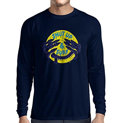 """T-Shirt mit langen Ärmeln surfen kleidung """"Shut up and Surf"""" lustiges Geschenk Blau Mehrfarben"""