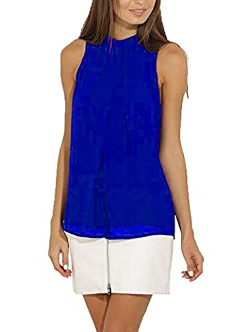 LaoZan Damen Ärmelloses T-Shirt Chiffonbluse Tanktops Tunika Shirt Bluse Saphirblau 2XL