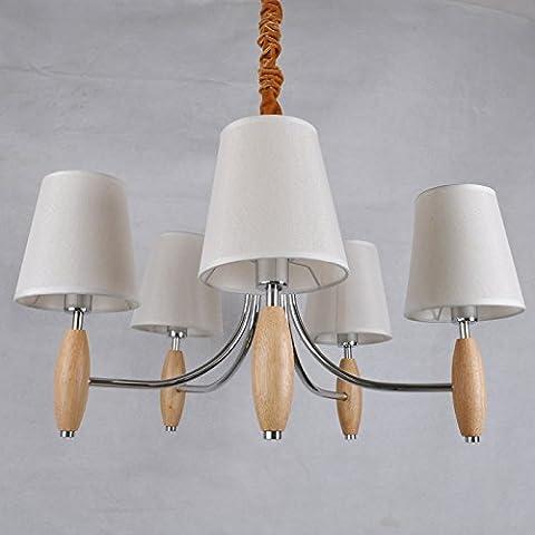 CHJK BRIHT Moderno e minimalista villaggio americano pendente in legno legno luci soggiorno luce stile Coreano camera da letto le luci a led Ristorante Giapponese