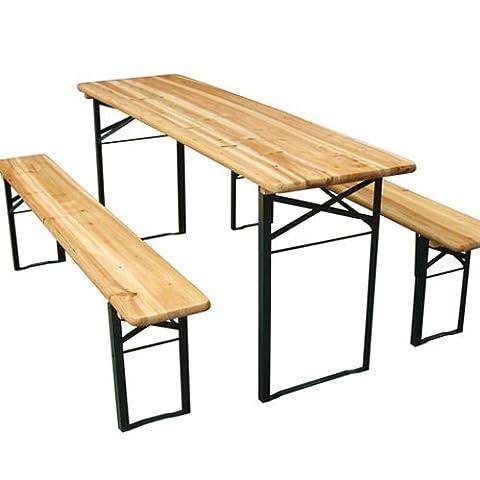 Miadomodo - Ensemble Table et Bancs de Brasserie 3 Pièces Pliables en Bois (Quantité au Choix)