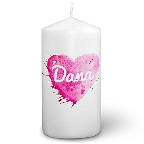 Dana Kerze (Kerze mit Namen Dana - Fotokerze mit Design Painted Heart - romantische Wachskerze, Taufkerze, Hochzeitskerze, Stumpenkerze)