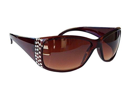Gil SSC Damenbrille Sonnenbrille mit Strass Brille Damen Sunglasses M 38 (Braun)