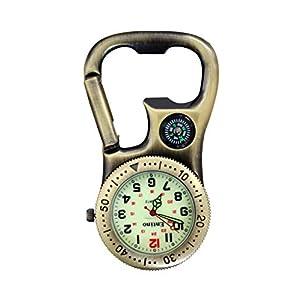 Entino Clip-On-Karabineruhr mit Kompass und Flaschenöffner für Ärzte, Krankenschwestern, Sanitäter, Köche, zusätzliche Batterie
