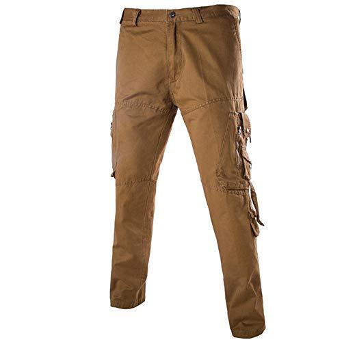 GreatestPAK Männer Vielseitig Cargo Pants Herren Multi-Pocket-Hose Kampf Reißverschluss Taille Arbeit Casual Jogging Overalls,Braun,36(EU 52)