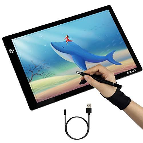 ELZO Leuchttisch, Led Licht Pad Leuchtplatte A4 Leuchtkasten Einstellbare Zeichnung Helligkeit Dimmbar Leuchtpult Mit USB Kabel, Handschuh für Skizzieren Skizzierung Zeichnung, Schablonieren, Kinder