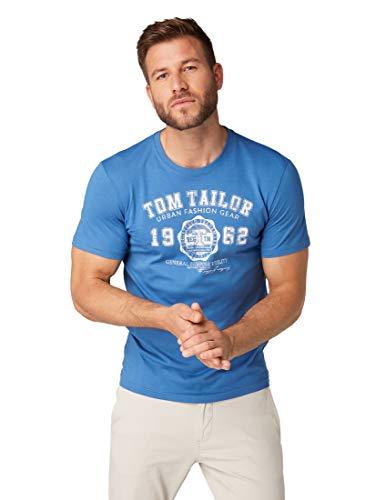 TOM TAILOR für Männer T-Shirts/Tops T-Shirt mit Logo-Print Midsummer Blue, XXXL