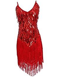 D DOLITY Tracolla Regolabile Vestito Da Ballo Vestito Gonna Frange Di  Paillettes per Donna 59e85ae6b94