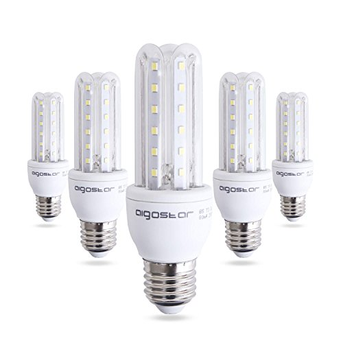 Aigostar - Bombilla LED B5 T3 3U, E27, 9 W equivalente a 70 W, 6400K, 810 lúmenes, no regulable - Pack de 5