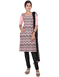 ESTYLe Ethnic Prints Cotton Kurta With Salwar And Chiffon Dupatta