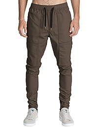 ITALY MORN Pantalón para Hombre Cargo Slim Jogging Casual Algodón Negro 12 Colores