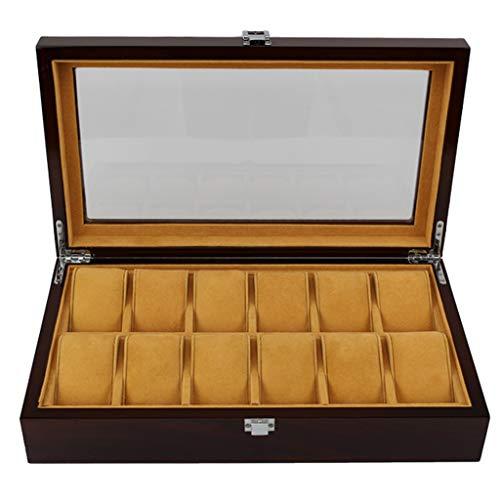 CMX-Uhrenbox für Massivholz Uhr Box Organizer 12 Slot Glasabdeckung Schmuck Aufbewahrungsbox Vitrine Aufbewahrungsbox Mens Valet Fach kreative einfache Retro -